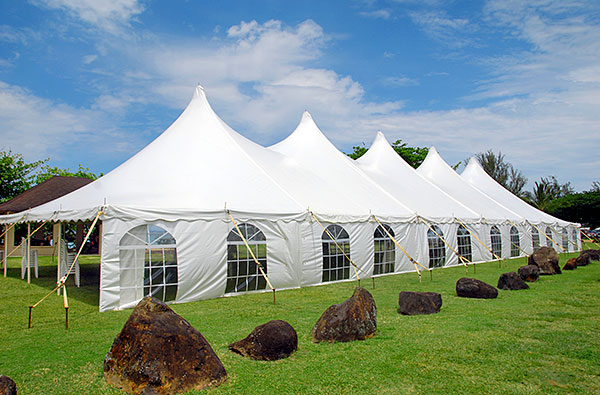 40 x 120 Century Tent with Cathedral Window Sidewalls - Kauai Wedding Tent Rental
