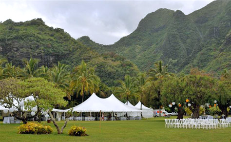 40 x 60 Century Tents in front of Mountains - Kauai Wedding Tent Rental