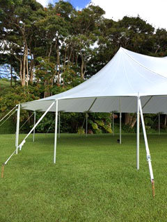 Sail Cloth Tent supporting poles - Kauai Event Tent Rental