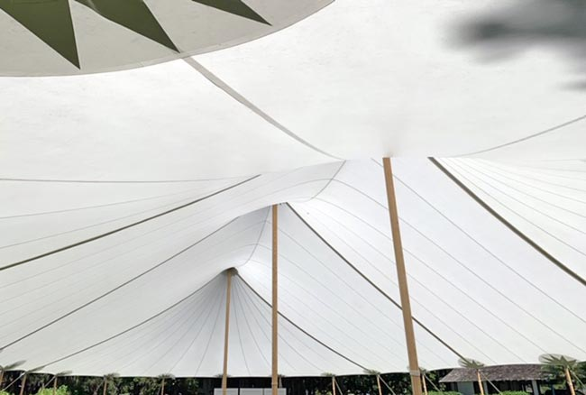 Sail Cloth Tent Interior - Kauai Event Tent Rental