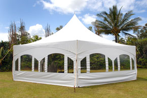 Hexagon Tent with window side walls - Party Tent Rental Kauai